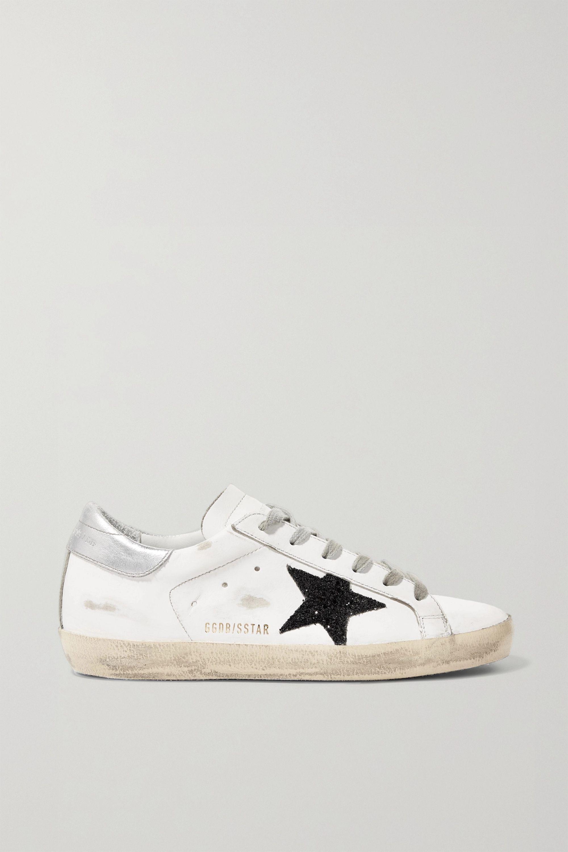 White Superstar glittered distressed