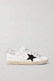 Superstar glittered distressed leather sneakers