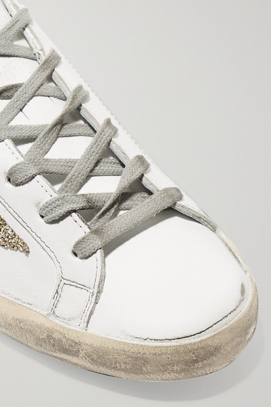 Golden Goose Deluxe Brand Superstar Sneakers aus Leder in Distressed-Optik mit Glitter-Finish Online Shop Bulk-Design Günstig Kaufen Outlet Kollektionen UAERlE
