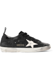 Superstar distressed cracked-leather sneakers