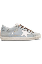 Superstar distressed metallic denim and leather sneakers