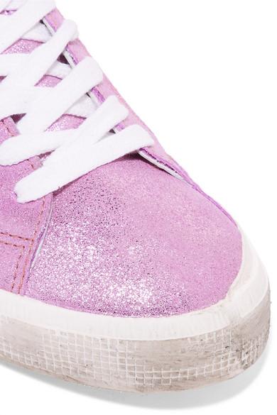 Golden Goose Deluxe Brand May Sneakers aus Veloursleder mit Metallic-Effekt und Leder in Distressed-Optik
