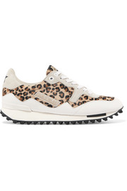 Starland leopard-print calf hair, suede and leather sneakers