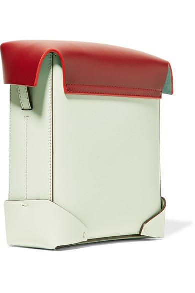Manu Atelier Pristine mini Schultertasche aus Leder und Veloursleder in Colour-Block-Optik