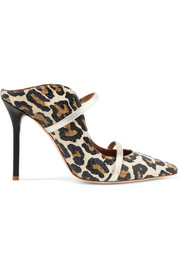 Maureen metallic leather-trimmed leopard-print elaphe mules