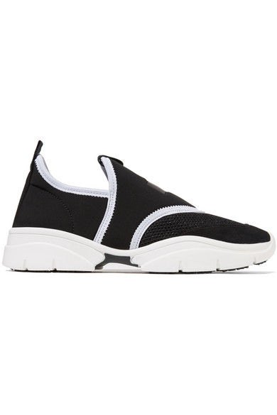Kaisee Mesh And Neoprene Slip-On Sneakers in Black from FRMODA