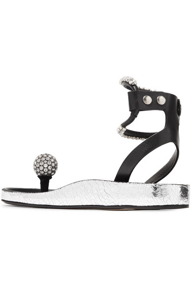 Ecly Crystal-embellished Smooth And Cracked-leather Sandals - Silver Isabel Marant 9t0nd