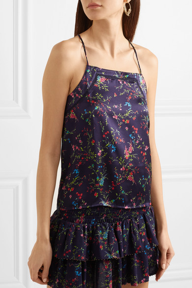 Paloma Blue Stella Top aus Seidensatin mit floralem Print