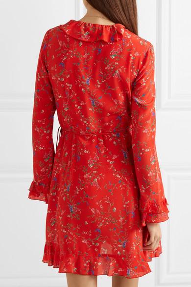 Paloma Blue Fiesta Wickelkleid aus Seide mit Blumenprint und Rüschen