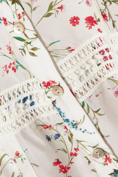Paloma Blue Luna Midikleid aus Seide mit floralem Print und Spitzenbesatz
