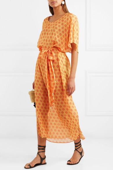 Paloma Blue Cosmo bedrucktes Kleid aus Seidenchiffon