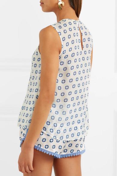 Paloma Blue Positano gerafftes Oberteil aus Seiden-Georgette mit Print