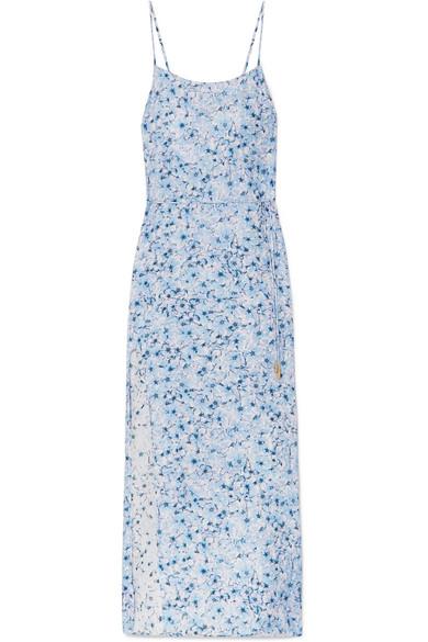 PALOMA BLUE Murano Floral-Print Silk-Satin Midi Dress in Sky Blue