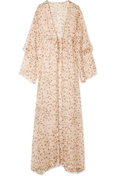 PALOMA BLUE Sunset Floral-Print Silk-Chiffon Kimono in Baby Pink