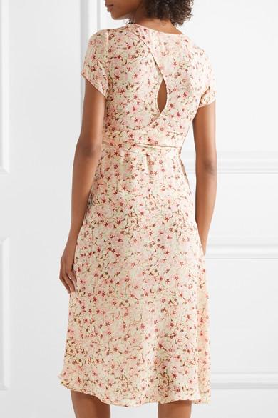 Siena Wrap-effect Floral-print Silk-chiffon Dress - Baby pink Paloma Blue MNG1ENvNQF