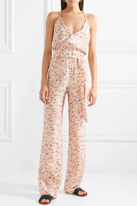 Paloma Blue Eclipse floral-print silk-satin jumpsuit