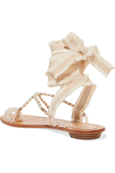 René Caovilla Elizabella verzierte Sandalen aus Leder und Ripsband mit Schnürung
