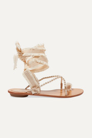 René Caovilla Elizabella lace-up embellished leather and grosgrain sandals