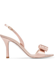 Crystal and bow-embellished satin slingback sandals