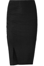 Splendid Ruched ribbed stretch-Micro Modal skirt