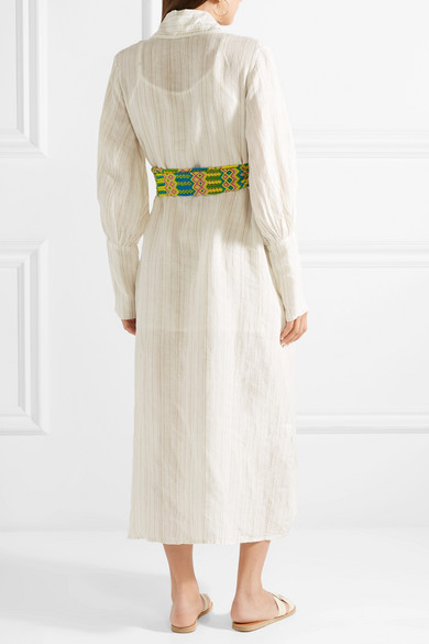 Jenny Striped Linen Midi Dress - Beige All Things Mochi Recommend For Sale uAaZGi