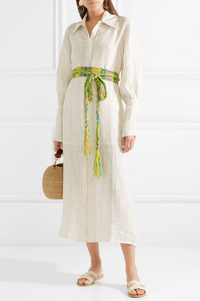 Jenny Striped Linen Midi Dress - Beige All Things Mochi rDJet