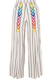 Andrea embroidered striped linen wide-leg pants
