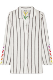 Nina embroidered striped linen shirt