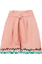 Paula embroidered linen shorts