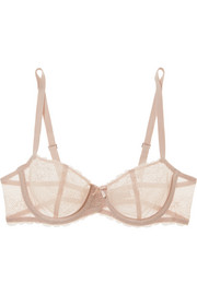 Chantelle Le Marais stretch-lace and point d'esprit underwired balconette bra