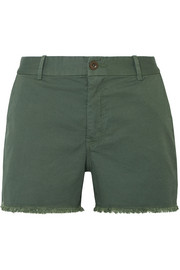 Carpenter frayed stretch-cotton twill shorts