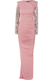 TOM FORD Gigi embellished ruched jersey gown
