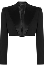 Cropped silk satin-trimmed wool tuxedo jacket