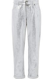 TOM FORD Metallic cotton and linen-blend pants