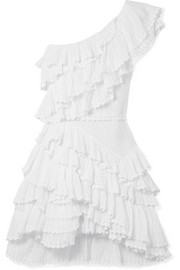 Zeller one-shoulder ruffled broderie anglaise cotton mini dress