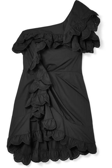 Isabel Marant Jiska gerüschtes Minikleid aus Baumwolle mit Lochstickerei und asymmetrischer Schulterpartie