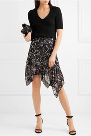Myles floral-print fil coupé silk-blend georgette skirt