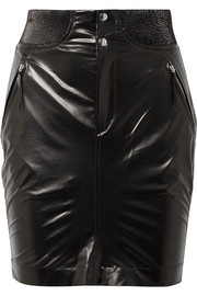 Amel ribbed knit-trimmed coated-silk mini skirt