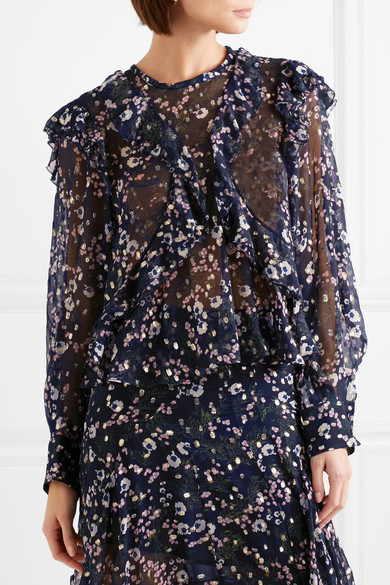 Isabel Marant Pattern Georgette Blouse-of A Silk Blend With Fil Coupe And Floral Print