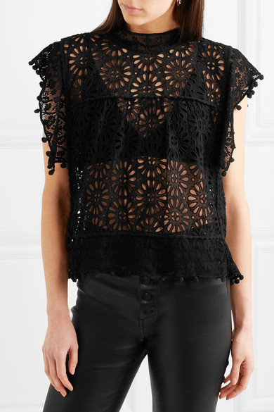 cb48bab2a9 Shoptagr | Kery Broderie Anglaise Cotton And Lace Top by Isabel Marant