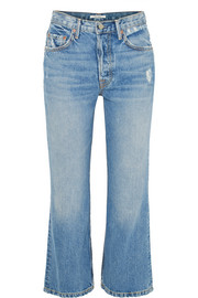GRLFRND Linda distressed cropped high-rise flared jeans