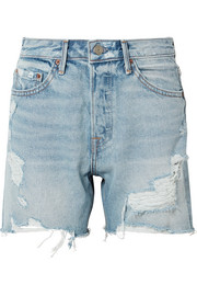 GRLFRND Jourdan distressed denim shorts