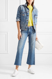 Joan cropped distressed mid-rise flared jeans