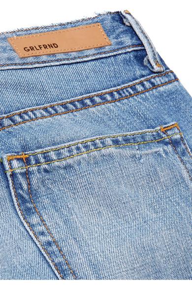 GRLFRND Kiara hoch sitzende Jeans mit geradem Bein in Distressed-Optik