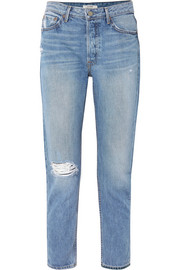 GRLFRND Kiara distressed high-rise straight-leg jeans