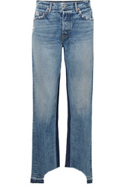 Helena distressed high-rise straight-leg jeans