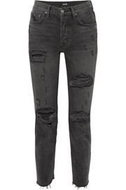 GRLFRND Karolina distressed high-rise skinny jeans