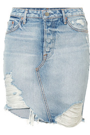 GRLFRND Rhoda distressed denim mini skirt