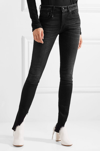 R13 Kate tief sitzende Skinny Jeans in Distressed-Optik