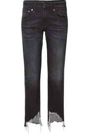 R13 Boy distressed mid-rise straight-leg jeans